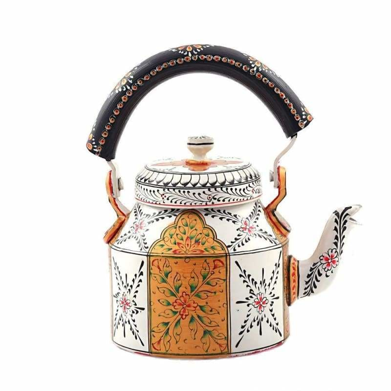 KAUSHALAM HAND PAINTED TEA KETTLE (1000 ml) : GOLDEN HERITAGE - Title - Painted Teapots