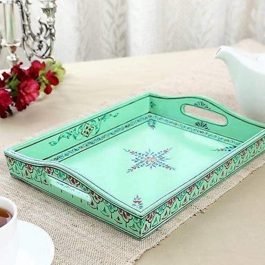 Kitchen & Dining Hand Painted Turquoise Tray in Wood