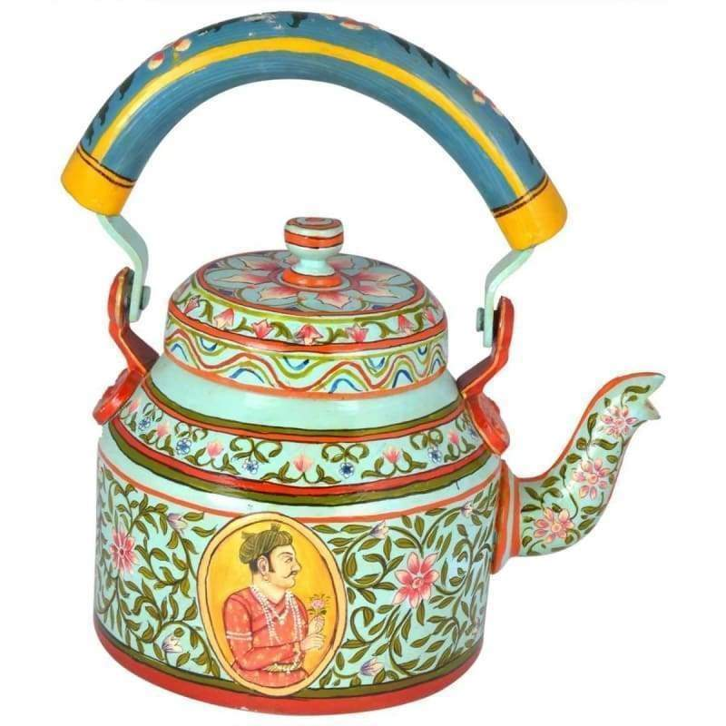 Painted Teapots Hand-painted unique Kaushalam Teapot: King & Queen Available in Aluminum Stainless Steel