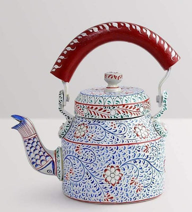 Painted Teapots Hand White and Blue Tea Pot in Aluminium