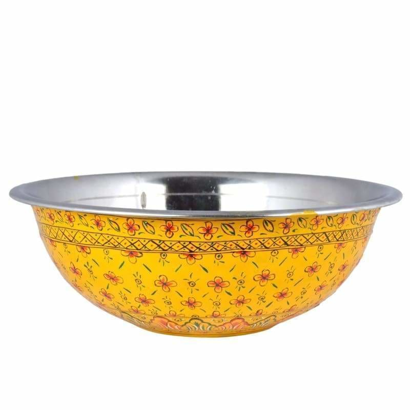 Kitchen & Dining Hand Painted Yellow Serving Bowl in Stainless Steel