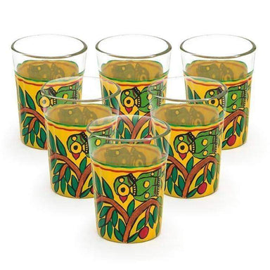 Kitchen & Dining Hand Painted Yellow Set of Six Tea Glasses in Glass