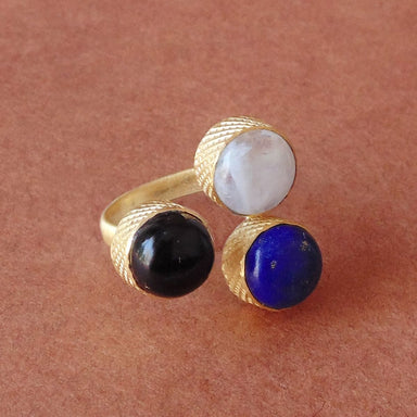 Handcrafted 18 Karat Matte Gold Plated Lapis Lazuli Rainbow Moonstone And Black Onyx Gemstone Anniversary Gift Ring - by Bhagat Jewels