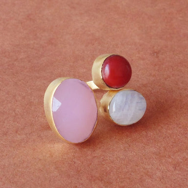 Handcrafted 18K Gold Plated Rose Quartz And Rainbow Moonstone Wedding Ring - by Bhagat Jewels