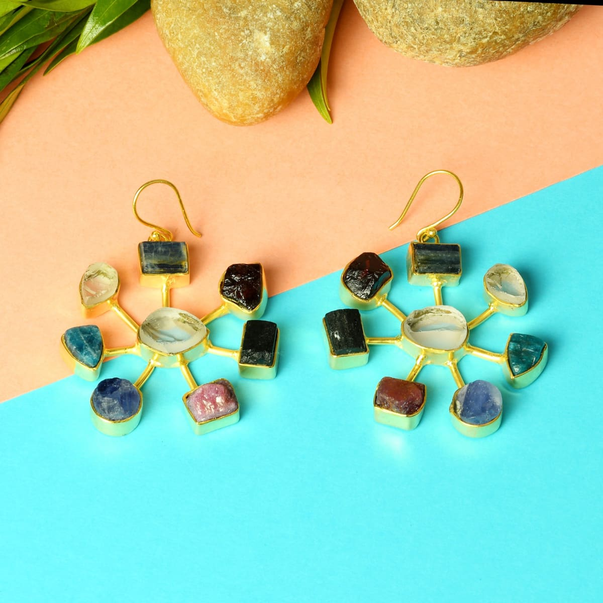 Handcrafted 18K Gold Vermeil Multi Color Gemstone Dangle Earrings - by Bhagat Jewels