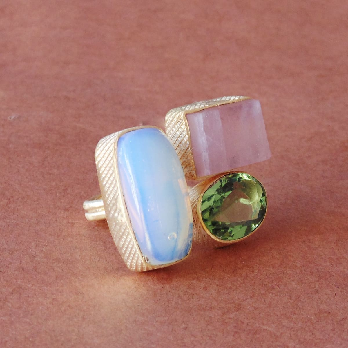 Handcrafted 18K Gold Vermeil Opalite Rose Quartz And Green Amethyst Gemstone Large Ring - by Bhagat Jewels