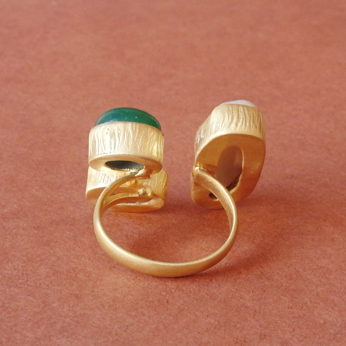 Handcrafted 18K Matte Gold Plated Biwa Pearl Green Onyx And Amethyst Gemstone Cocktail Ring - by Bhagat Jewels