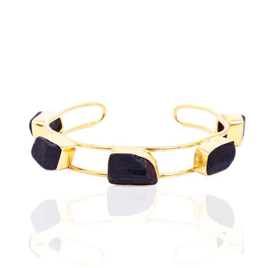 Handcrafted 22K Gold Plated Natural Healing Black Tourmaline Gemstone Cuff Bangle