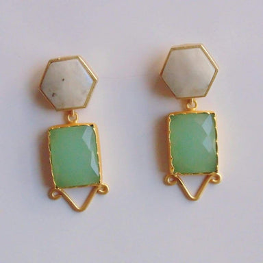 Handcrafted Gold Plated Rainbow Moonstone And Aqua Chalcedony Dangle Earrings