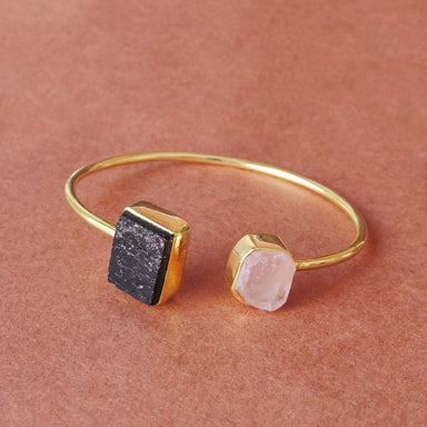 Handcrafted Gold Vermeil Natural Black Tourmaline And Rose Quartz Gemstone Attractive Stackable Bangle - by Bhagat Jewels
