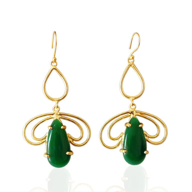Handcrafted Green Onyx Cabochon Gemstone Fashion Earrings - by Bhagat Jewels