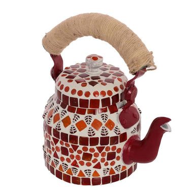 Painted Teapots Handcrafted Kaushalam Mosaic Teapot: Red