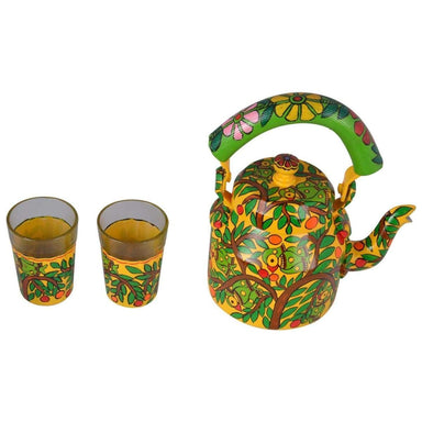 Kitchen Decor Handcrafted Kaushalam Tea pot with Two Glasses