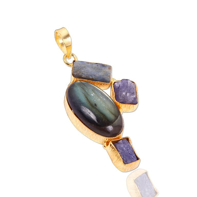 Handcrafted Labradorite Tanzanite And Kyanite Gemstone Statement Pendant