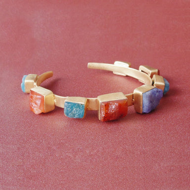 Handcrafted Matte Gold Plated Carnelian Apatite & Tanzanite Family Birthstone Designer Bracelet - by Bhagat Jewels