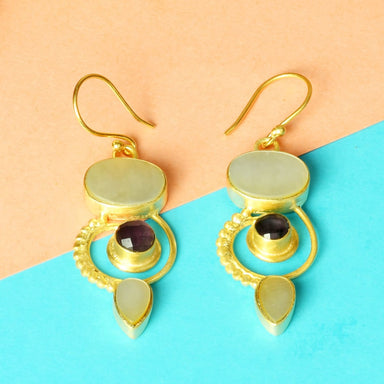 Handcrafted Mother Of Pearl And Amethyst Gemstone Bridesmaids Dangle Earrings - by Bhagat Jewels