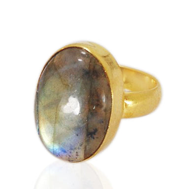 Handcrafted Natural Labradorite Gemstone Everyday Wear Statement Ring