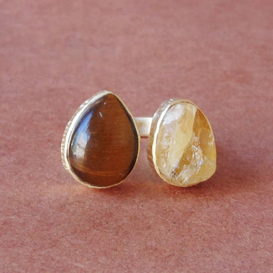 Handcrafted Natural Tiger Eye And Raw Citrine Gemstone Everyday Wear Fashion Ring - by Bhagat Jewels