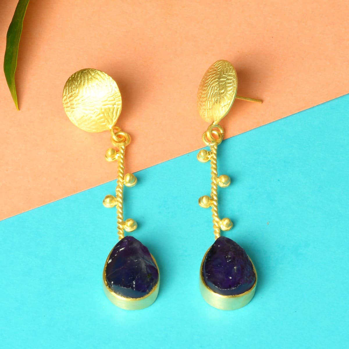 FREE SHIPPING!! Vintage Beautiful Artisan Crafted Drop Earrings With Purple Transparent Stones