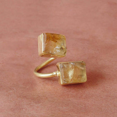 Handcrafted Raw Citrine November birthstone Bypass Style Ring