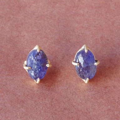Handcrafted Raw Tanzanite Gemstone 4 Prong Set Post Studs Earrings - by Bhagat Jewels