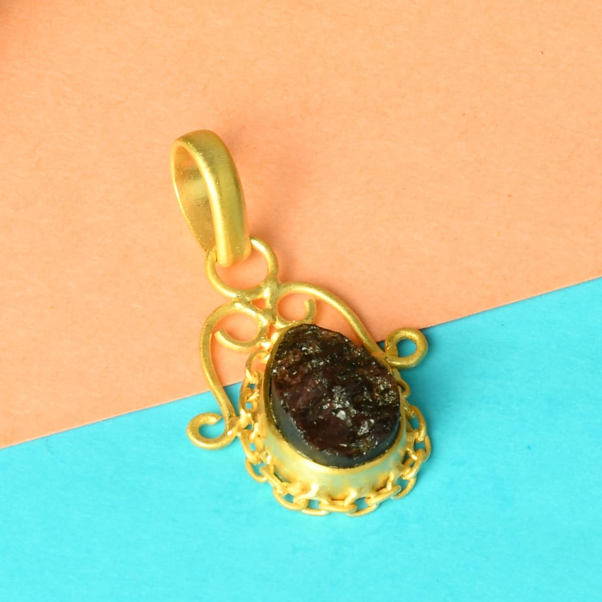 Handcrafted Real Garnet January Birthstone Designer Drop Pendant - by Bhagat Jewels