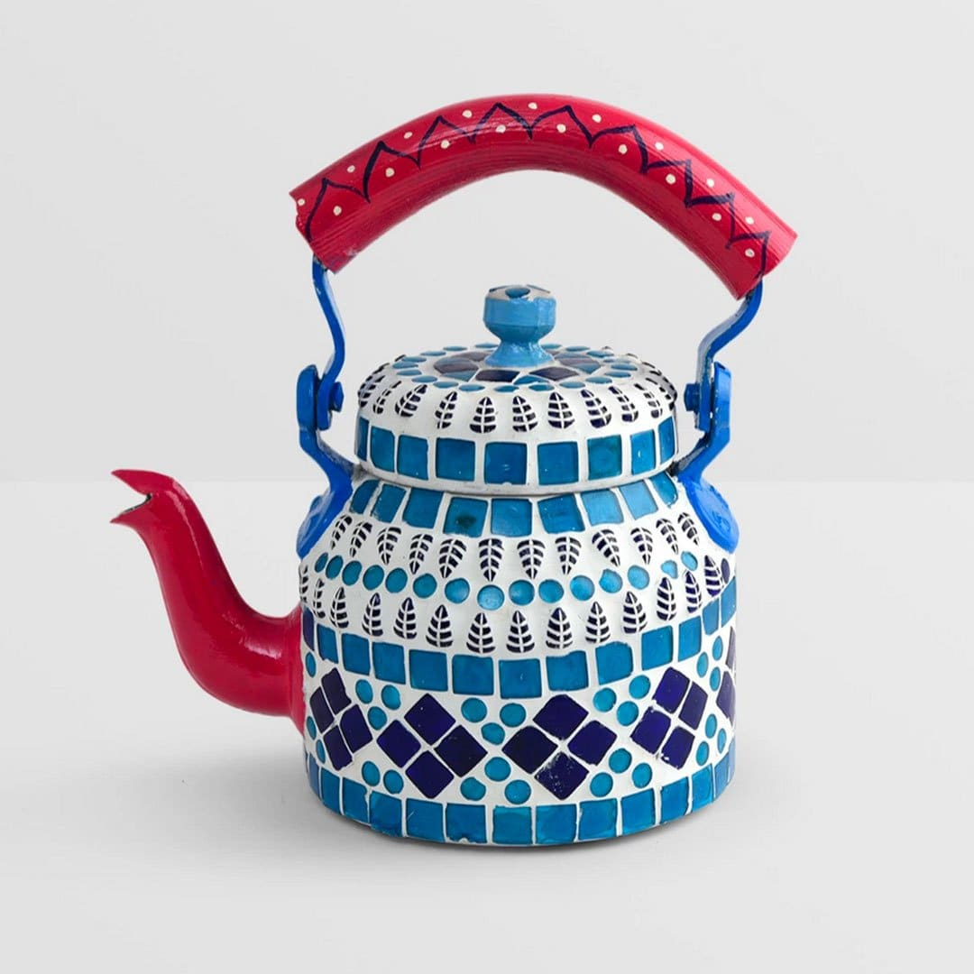painted teapots Handcrafted Small Mosaic Tea pot in Blue - by Mrinalika Jain
