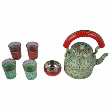 Kitchen Decor Handcrafted Teaset: Sea Green with Glasses