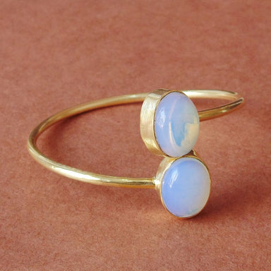 Handmade 18K Gold Plated White Opalite Gemstone Designer Bypass Bangle - by Bhagat Jewels