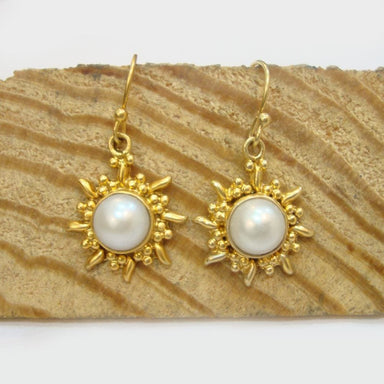 Handmade 925 Sterling Silver Gold Plated Pearl Women Dangle Earrings - by Vidita Jewels