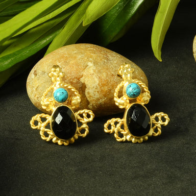 Handmade Black Onyx And Turquoise December Birthstone Wedding Post Earrings - by Bhagat Jewels