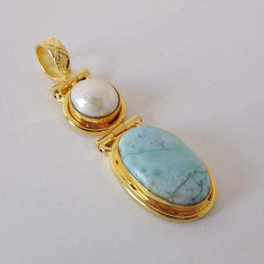 Handmade Gold Plated White Pearl And Larimar Gemstone Designer Pendant