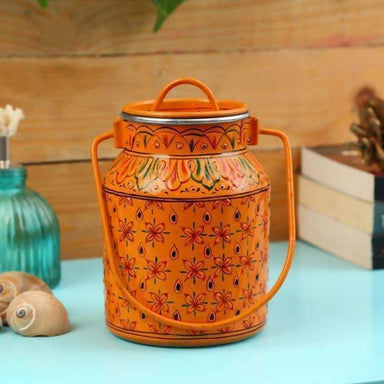 Kitchen & Dining Handmade Orange Bucket with Lid in Stainless Steel
