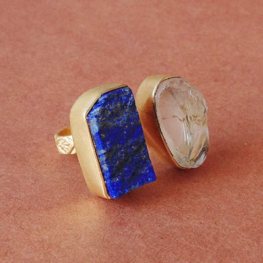 Handmade Lapis Lazuli And Crystal Quartz Gemstone Adjustable Ring - by Bhagat Jewels