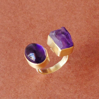 Handmade Matte Gold Vermeil Natural Amethyst Gemstone Adjustable Ring - by Bhagat Jewels