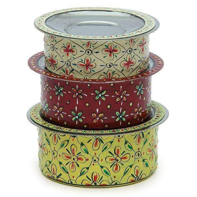 Kitchen & Dining Handmade Multi Color Serving Bowls with Lids in Stainless Steel