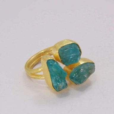 Handmade Natural Apatite Ring 18K Gold Plated Ring Rough Stone Ring Blue Gemstone Ring Fashion Ring Womens Ring Adjustable Ring - Rings