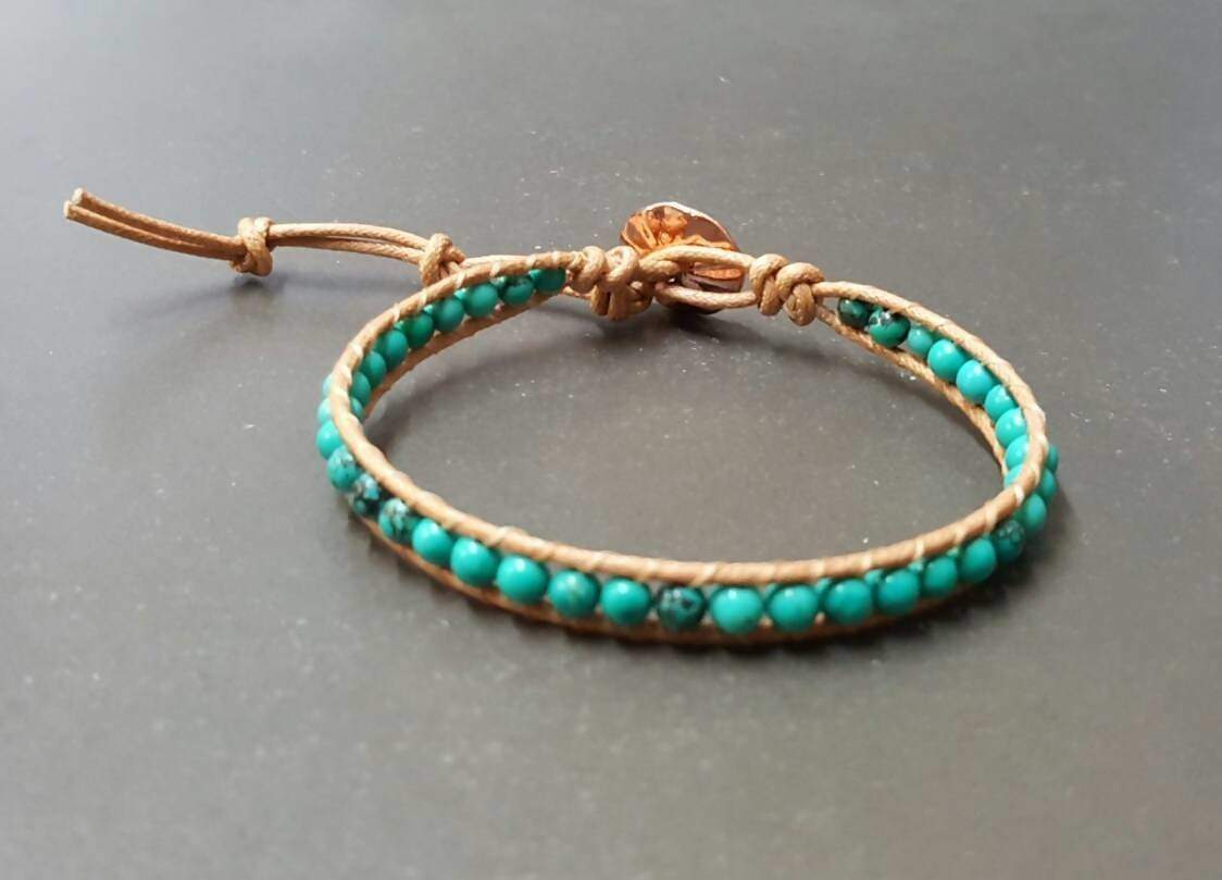 Bracelets Handmade Natural Turquoise Brown Nude Cotton Cord Bracelet