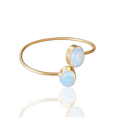 Handmade Oval Shape Opalite Gemstone Bypass Stylish Adjustable Bangle