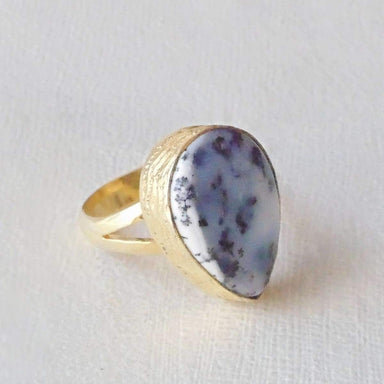 Handmade Pear Shape Dendritic Opal Gemstone Stacking Ring For Women