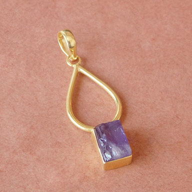 Handmade Purple Amethyst February Birthstone Designer Pendant In Gold Plated - by Bhagat Jewels