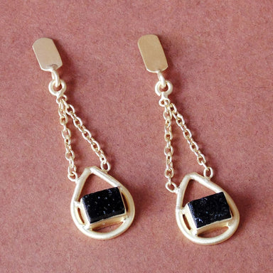 Handmade Raw Black Tourmaline Gemstone Bezel Set Chain Dangle Earrings - by Bhagat Jewels