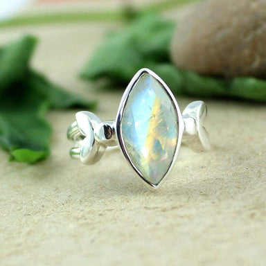 Rings Handmade Ring 925 Sterling Silver Jewelry Rainbow Fire Moonstone