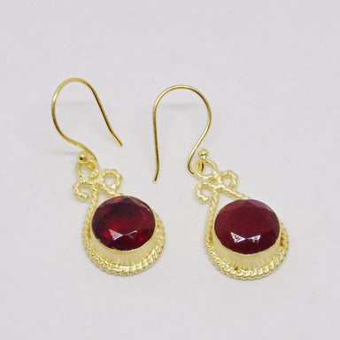 Handmade Round Shape Garnet Hydro Quartz Twist Wire Earrings - by Bhagat Jewels