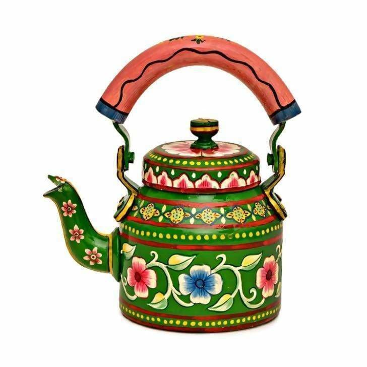 Painted Teapots Handmade Tribal Kaushalam Teapot: Floral