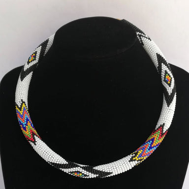 Necklaces Handmade Unique Design Maasai Beaded White Necklace - by Naruki Crafts