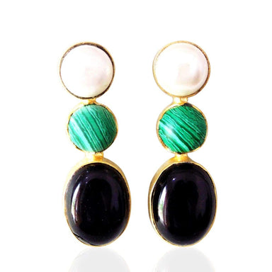 Handmade White Pearl Green Malachite And Black Onyx Gemstone Bridesmaids Earrings