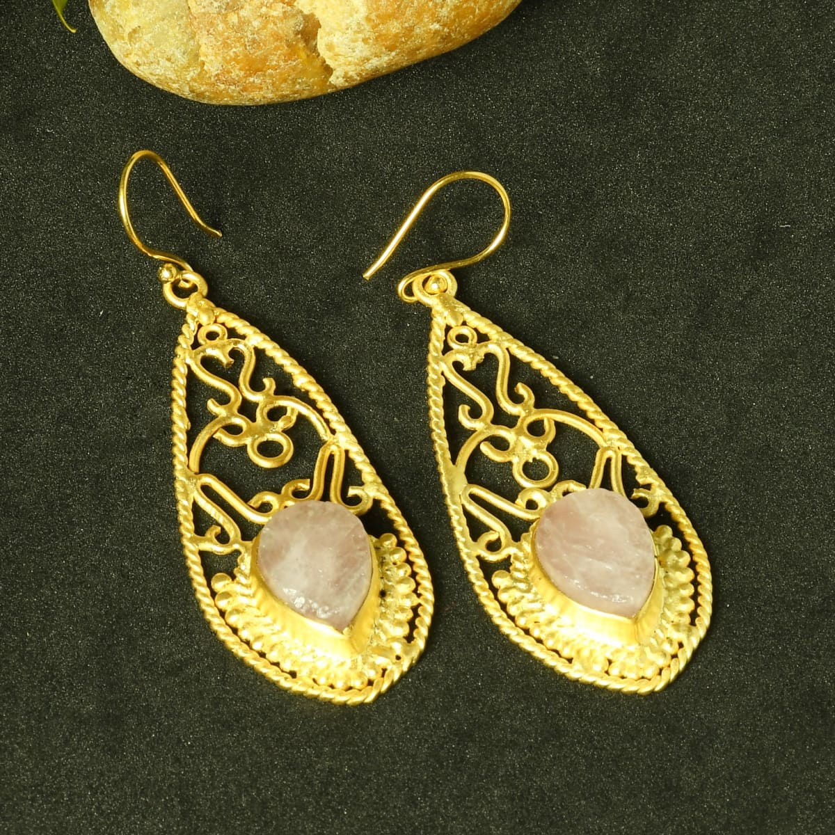 Handmade Wire Wrap Design Natural Rose Quartz Gemstone Dangle Earrings - by Bhagat Jewels
