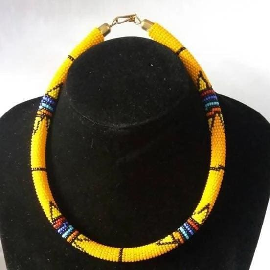 Necklaces Handmade Yellow Maasai Beaded Necklace - by Naruki Crafts