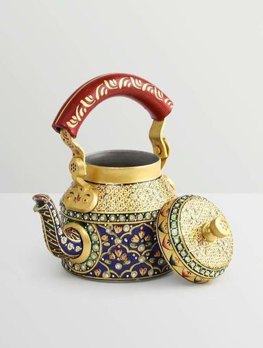 Painted Teapots Handpainted Kaushalam gold & blue diamond Teapot in Aluminium